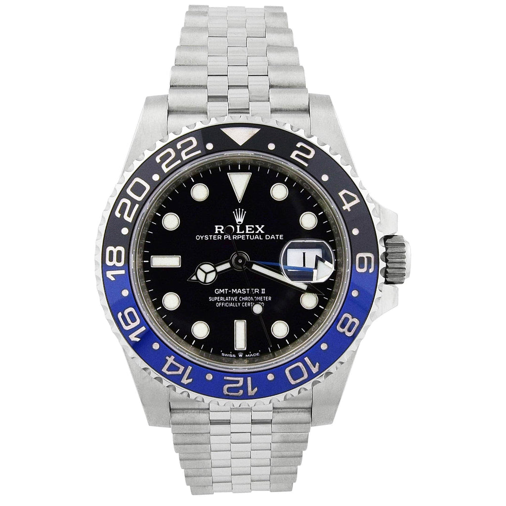 Rolex Mesn GMT-Master II Batman Stainless Steel 40mm Black Dot Dial Watch Reference #: 126710BLNR
