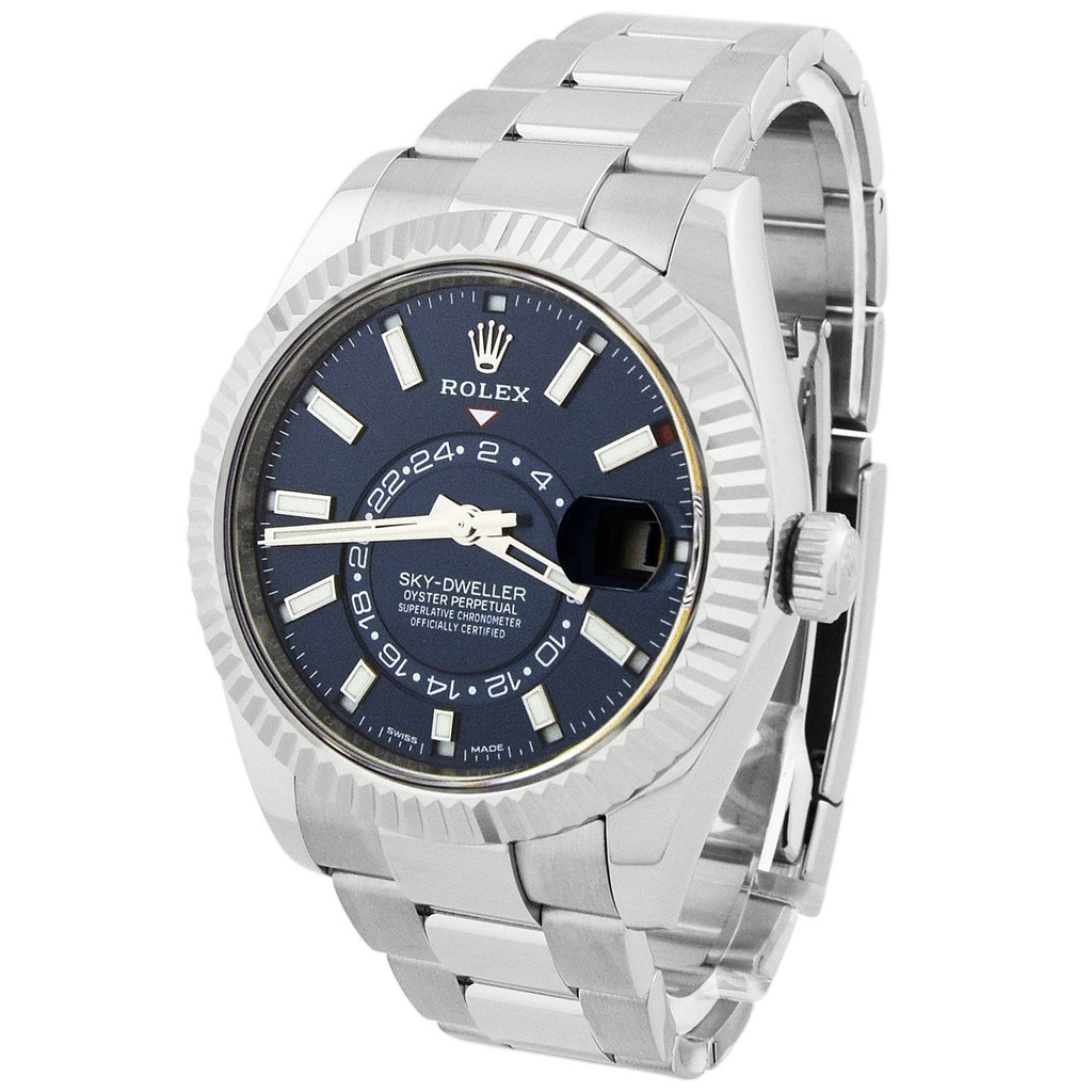 Rolex Mens Sky-Dweller Stainless Steel & White Gold 42mm Blue Stick Dial Watch Reference #: 326934