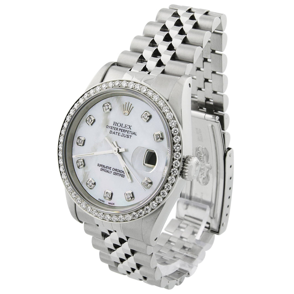Rolex Unisex Datejust Stainless Steel 36mm MOP Diamond Dot Dial Watch Reference #: 16264