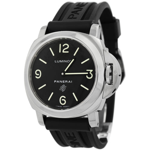 Panerai Mens Luminor Stainless Steel 44mm Black Stick & Arabic Dial Watch Reference #: PAM 00000 - Happy Jewelers Fine Jewelry Lifetime Warranty