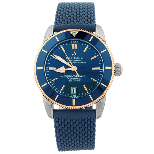 Breitling Mens Superocean Heritage B20 18K Rose Gold & Steel 42mm Blue Stick Dial Watch Reference #: UB2010161C1S1 - Happy Jewelers Fine Jewelry Lifetime Warranty