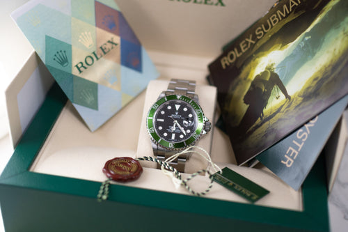 Collectors Dream! 2006 Rolex Mens Submariner Date Kermit Stainless Steel 40mm Black Dot Dial Watch Reference #: 16610LV - Happy Jewelers Fine Jewelry Lifetime Warranty