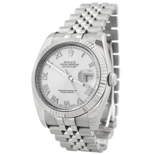 Rolex Mens Datejust Stainless Steel 36mm Silver Roman Dial Watch Reference #: 116234 - Happy Jewelers Fine Jewelry Lifetime Warranty