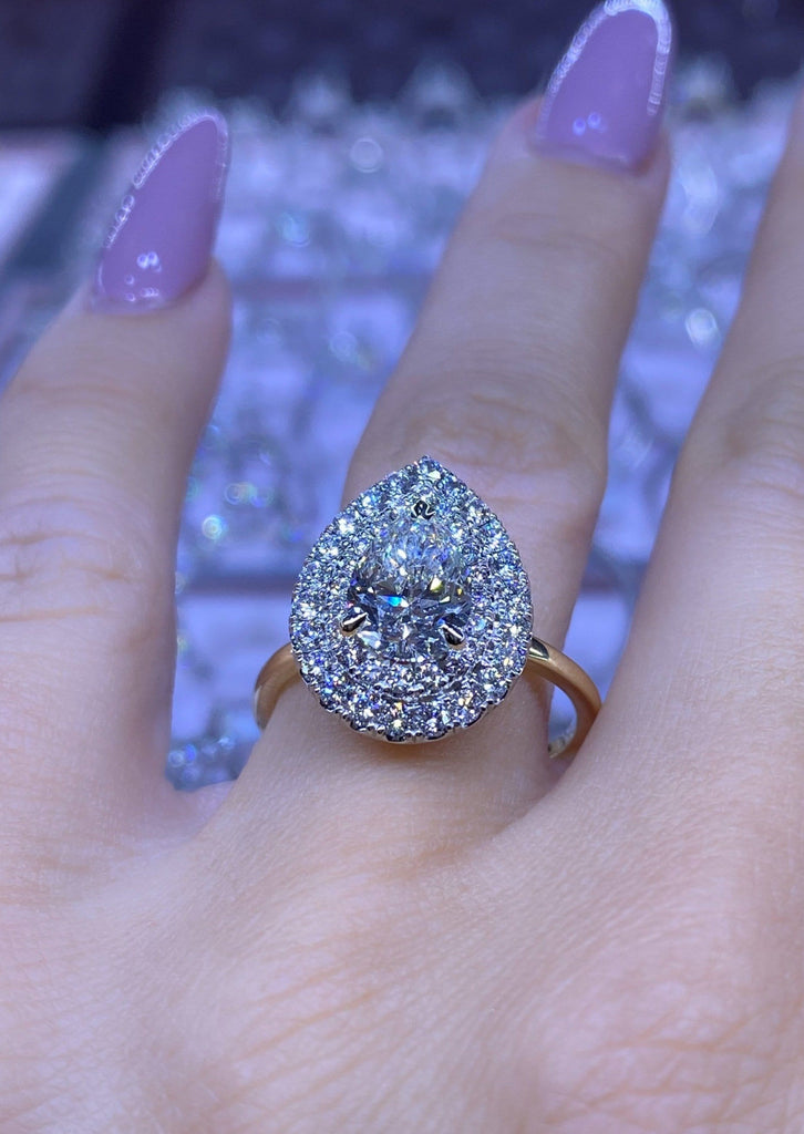Engagement Ring Wednesday | 1.57 Carat Pear Cut Diamond | Double Halo - Happy Jewelers Fine Jewelry Lifetime Warranty