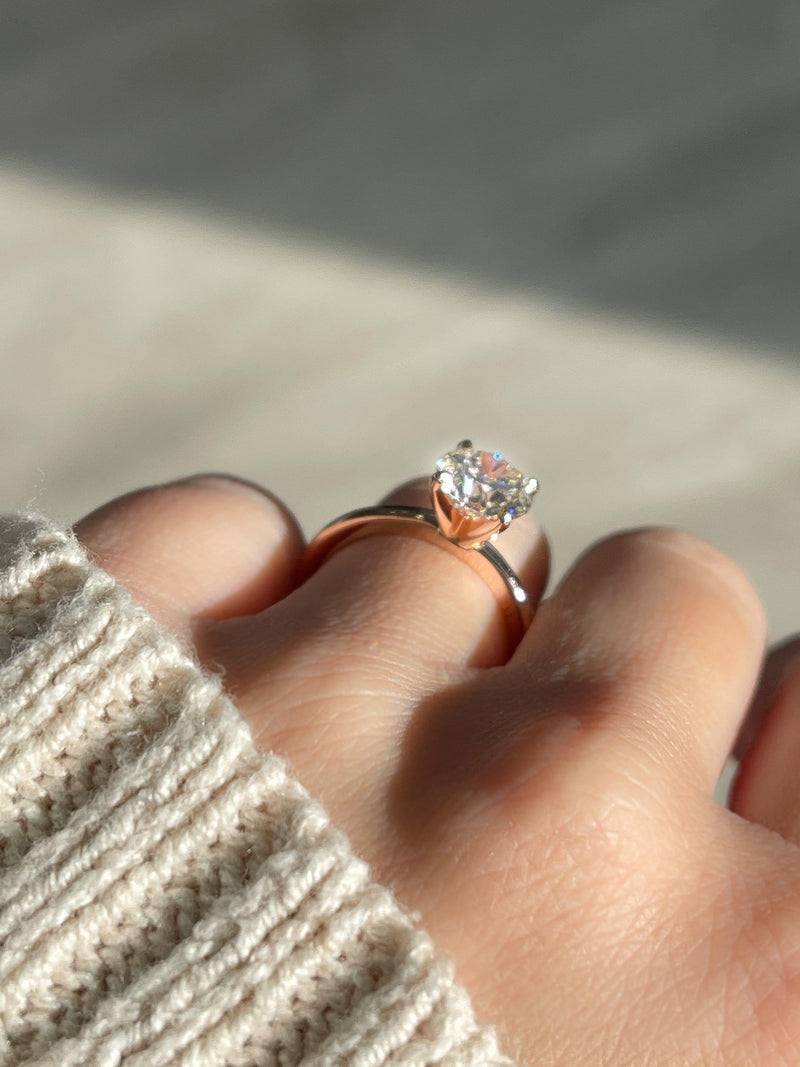 1.75 Round Brilliant Diamond | Rose Gold Solitaire Engagement Ring - Happy Jewelers Fine Jewelry Lifetime Warranty