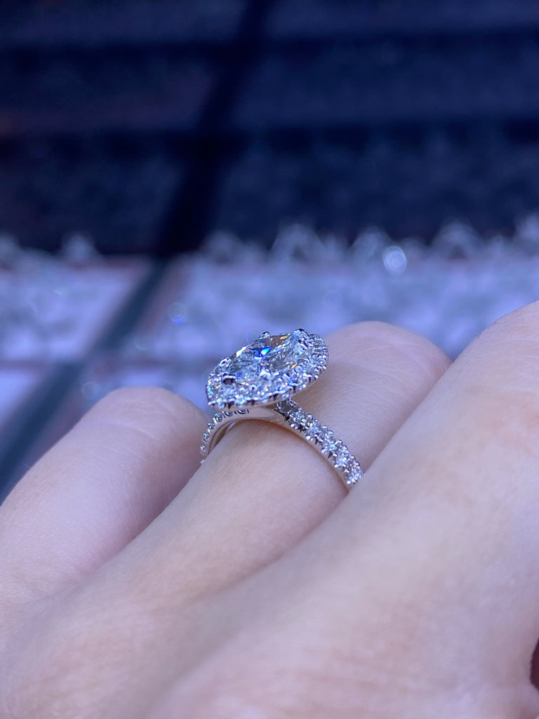 Engagement Ring 0.98 Marquise Shape Diamond - Happy Jewelers Fine Jewelry Lifetime Warranty