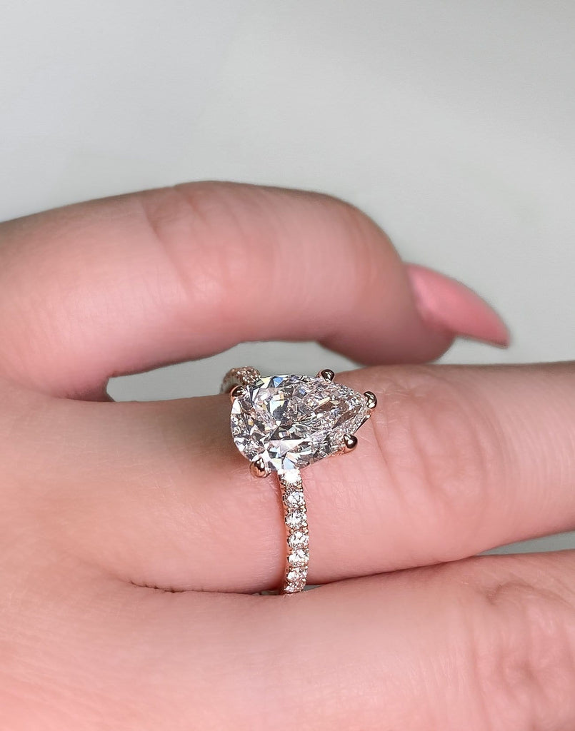 Engagement Ring | 2.01 Pear Shape Diamond | 2.51 total ctw | Rose Gold - Happy Jewelers Fine Jewelry Lifetime Warranty