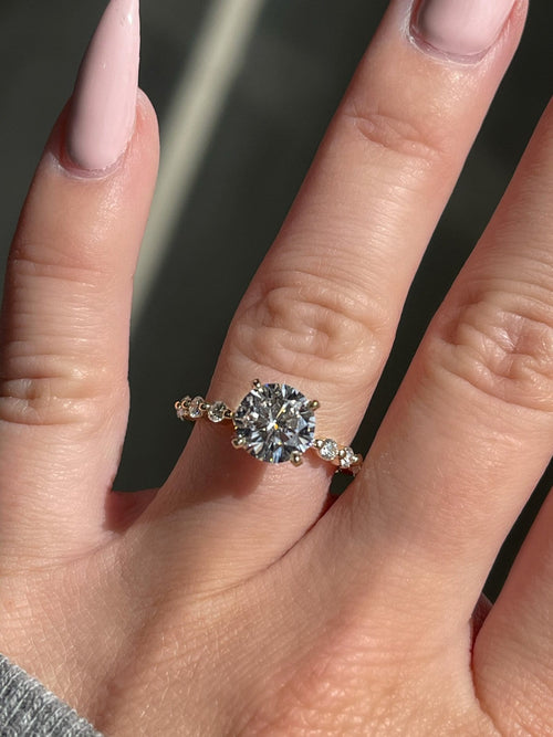 1.64 Carat Round Brilliant Diamond Engagement Ring w/ .39 Carat Half Way Around Diamond Band | 14kt Gold | Engagement Ring Wednesday - Happy Jewelers Fine Jewelry Lifetime Warranty