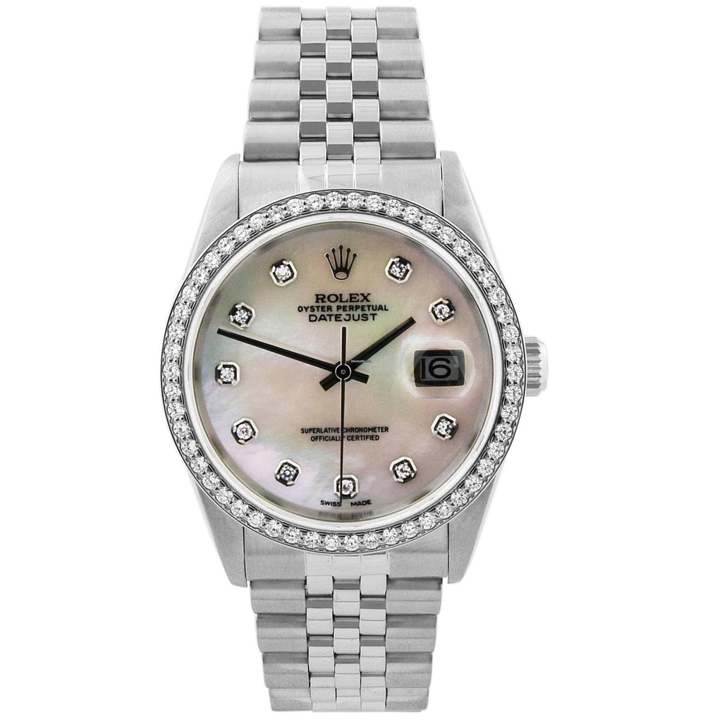Rolex Unisex Datejust Stainless Steel 36mm MOP Diamond Dial Custom Diamonds Watch - Happy Jewelers Fine Jewelry Lifetime Warranty