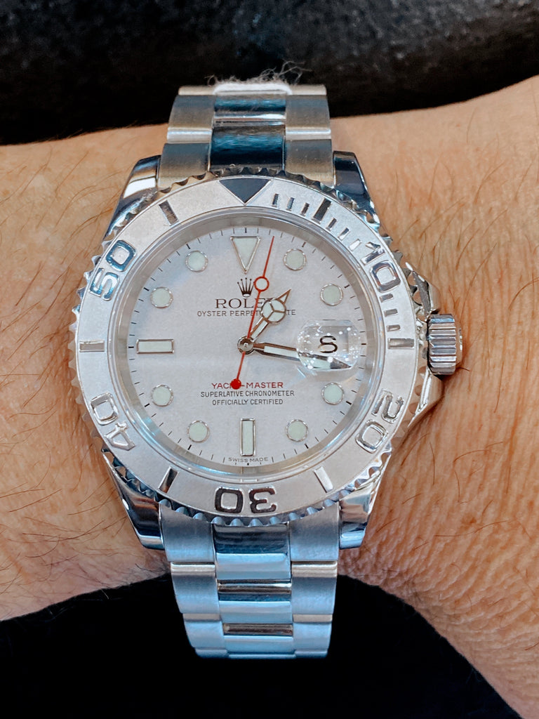 Rolex Men's Yacht-Master Stainless Steel 40mm Silver Luminous Dial Watch - Happy Jewelers