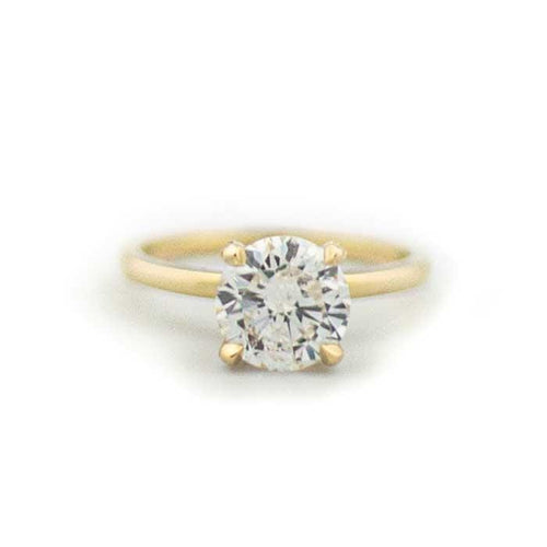 2.45 Round Diamond Engagment Ring | D Color SI2 Clarity | Yellow Gold - Happy Jewelers Fine Jewelry Lifetime Warranty
