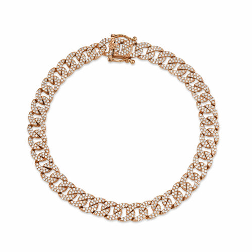 Double Diamond Flat Cuban Bracelet - Happy Jewelers Fine Jewelry Lifetime Warranty