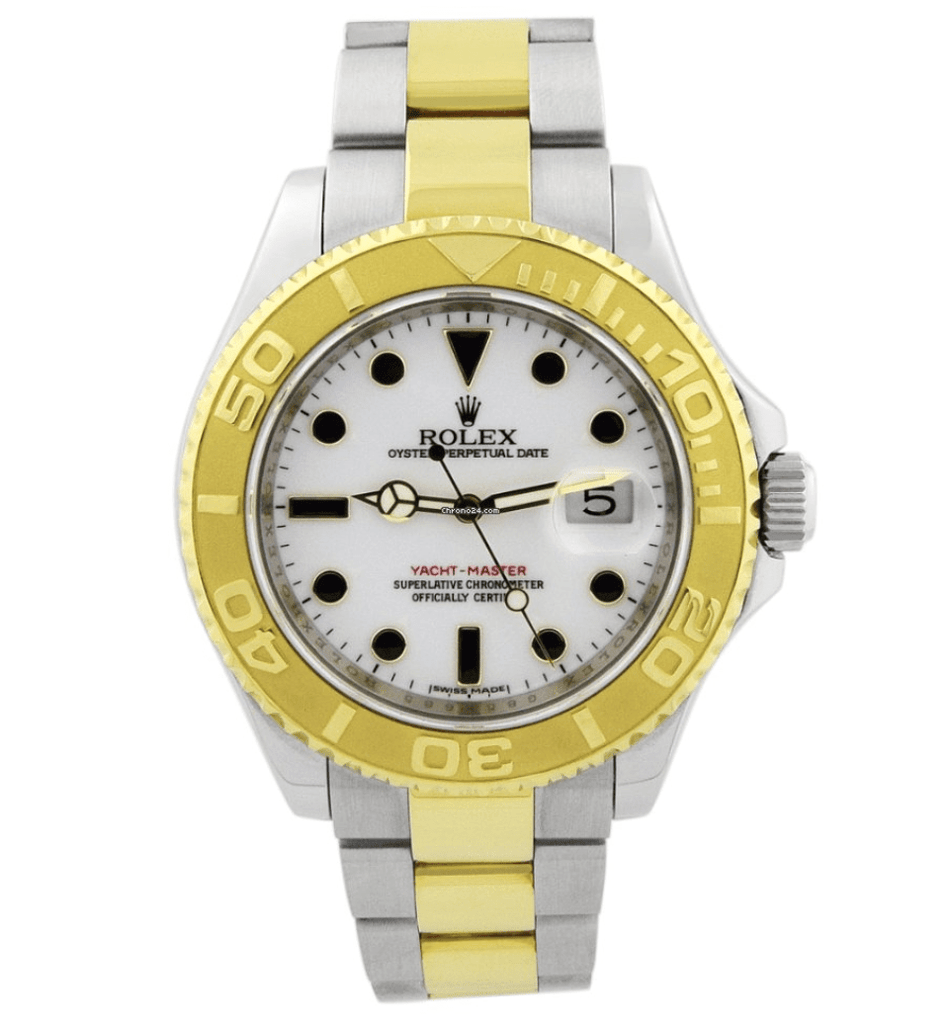 Rolex Men's Yacht-Master Yellow Gold & Steel White Luminous Dial Watch - Happy Jewelers Fine Jewelry Lifetime Warranty