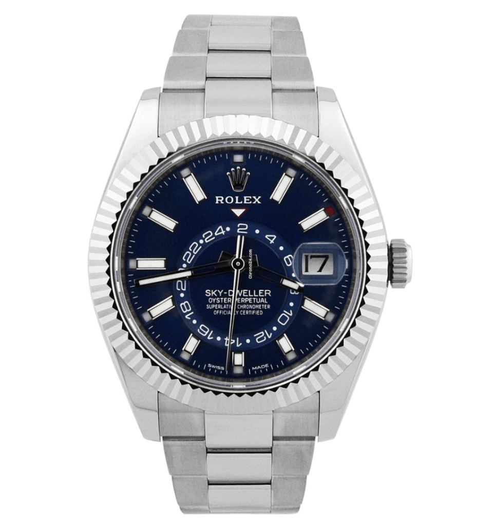 Rolex Mens Sky-Dweller Stainless Steel 42mm Blue Luminous Dial Watch - Happy Jewelers Fine Jewelry Lifetime Warranty