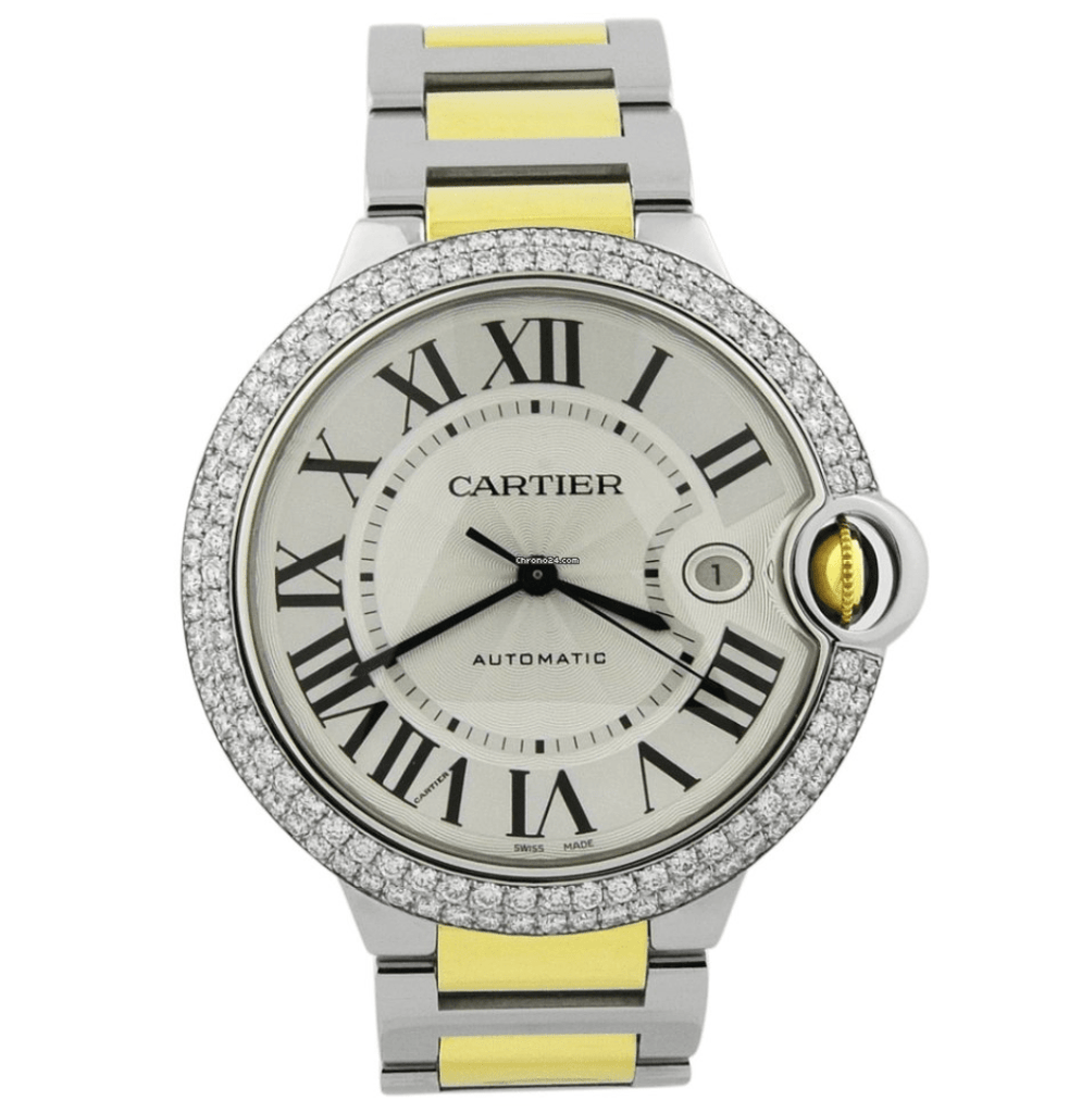 Cartier Mens Ballon Bleu 18KT Yellow Gold & Steel 42mm Silver Roman Dial Custom Diamonds Watch - Happy Jewelers