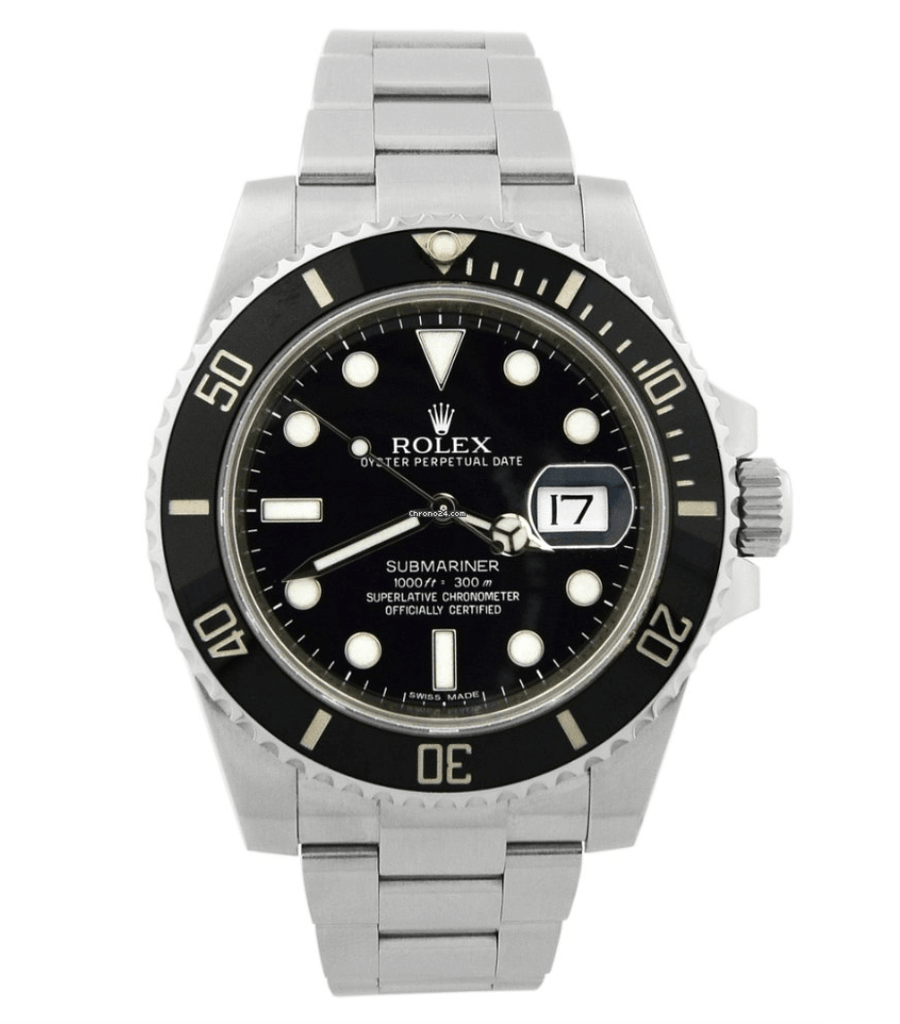 Rolex Men's Submariner Stainless Steel 40mm Black Luminous Dial Watch - Happy Jewelers