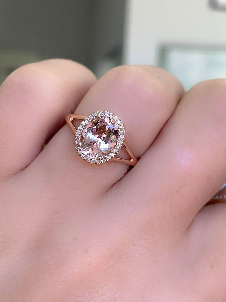 Split Shank 1.77ct Oval Morganite Ring - Happy Jewelers Fine Jewelry Lifetime Warranty