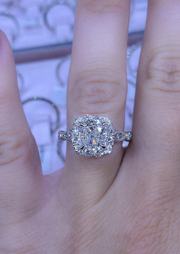 Engagement Ring Wednesday Antique Style 1.53 Cushion Cut Diamond - Happy Jewelers Fine Jewelry Lifetime Warranty