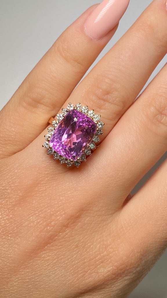 11.42 Carat Kunzite Halo Ring - Happy Jewelers Fine Jewelry Lifetime Warranty