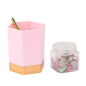 Paper Binders Clips Dispenser Cup and Pen Holder, Multibey Desktop Stationery Organizers Modern, Pink and Gold