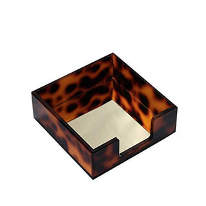 Amber Sticky Notes Holder for Desk Cube Memo Pads Dispenser Small Paper Tray Office Desk Accessories Organizer Decor,Tortoise