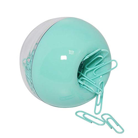 MultiBey Mint Green Paper Clips Magnetic Dispenser Holder 28mm Small Size, 100pcs per Box