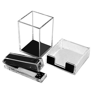 Multibey 3 Pack Office Supplies Acrylic Desk Accessories Organizer Set Pen Holder Pencil Cup, Stapler, Sticky Notes Tray, Classic Clear &Black Stationery Kit