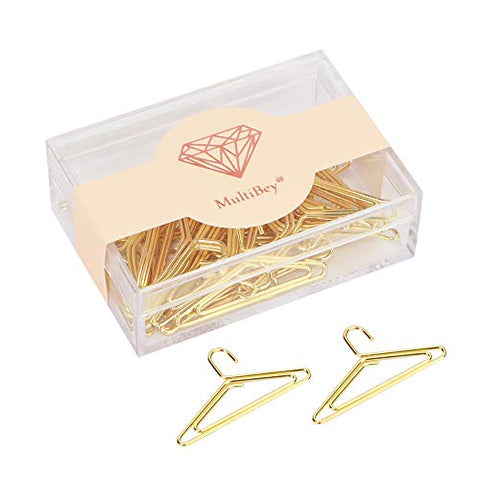 Multibey Gold Paper Clips Metallic Nonskid Decorative Paperclips Bookmarks in Reusable Holder Creative Hanger Shape, 30 Pcs Per Box