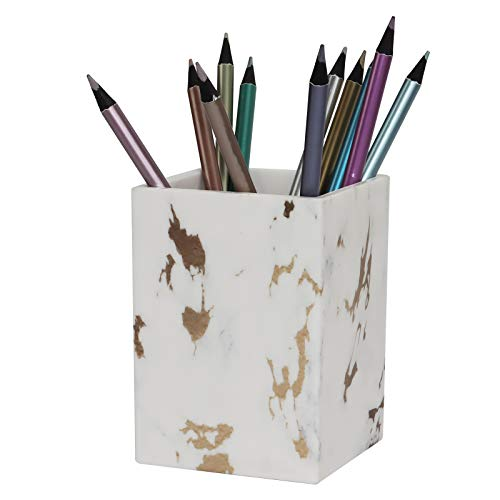 Marble White N Gold Pen Pencil Holder Cup Marble Makeup Brush Holder Desk Organizer Supplies Set for Home, Office N School