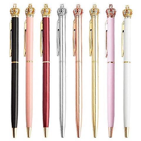 MutliBey 8 Pieces Metal Ballpoint Pens Black Ink 0.7mm Replaceable