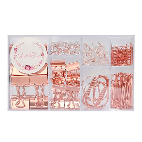 MultiBey Push Pins Binder Clips Paper Clips Map Tacks Sets, Rose Gold Office Stationery for Home School Office Supplies