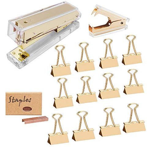 Acrylic Gold Office Supplies Set Office Gold Stapler Staples Remover Set with 25mm Gold Paper Binder Clips 950 Staples Luxury Acrylic Gold Desk Accessories for Office, Home N School