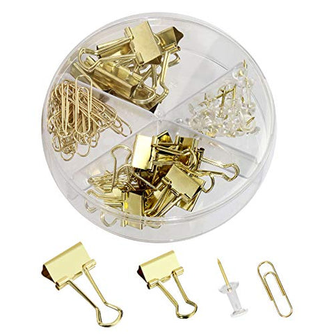 Gold Thumb Tacks Paper Clip Binder Clips Push Pins Set Assorted Size Binder Clamps in Round Box Holder Decorative Desk Accessorries Organizer