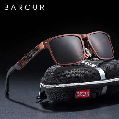 BARCUR Trending Styles Aluminium Magnesium Glass Square Men Sunglasses Polarized Sun glasses for Men Sport Eyewear Oculos de sol