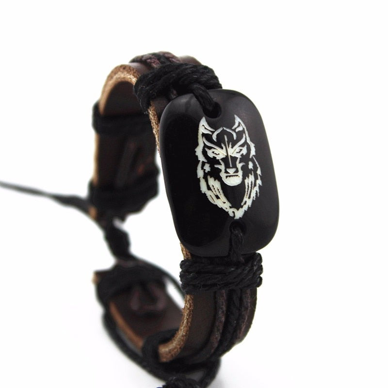 Indian Wolf Leather Bracelet with Rope