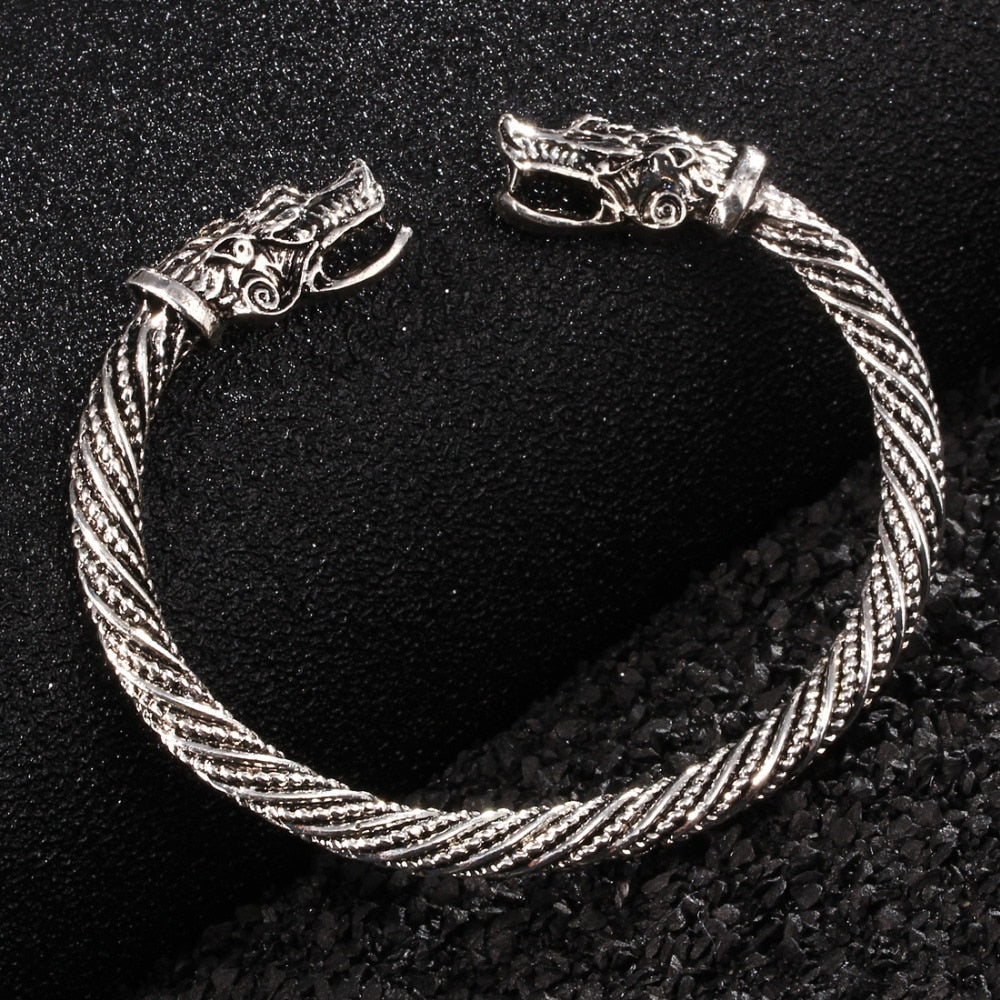 The Wolf Guardian Bracelet in Stainless Steel