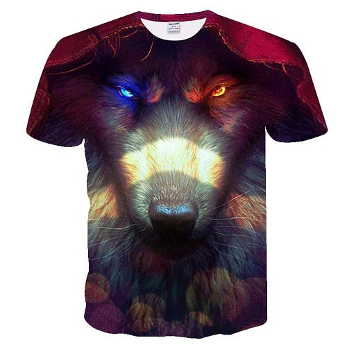 Fire and Ice Eyes Wolf T-Shirt 100% Cotton