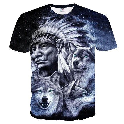 Wolves with Indian T-Shirt 100% Cotton