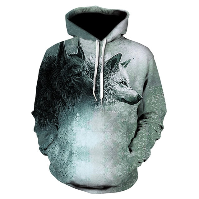 Grey and Black Wolves Hoodie 100% Cotton