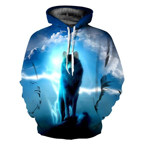 Wolf and Clouds Hoodie 100% Cotton