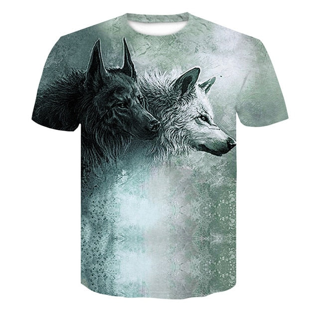 Grey and Black Wolves T-Shirt 100% Polyester