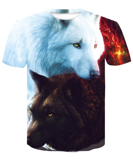 Black and White Wolves T-Shirt 100% Polyester