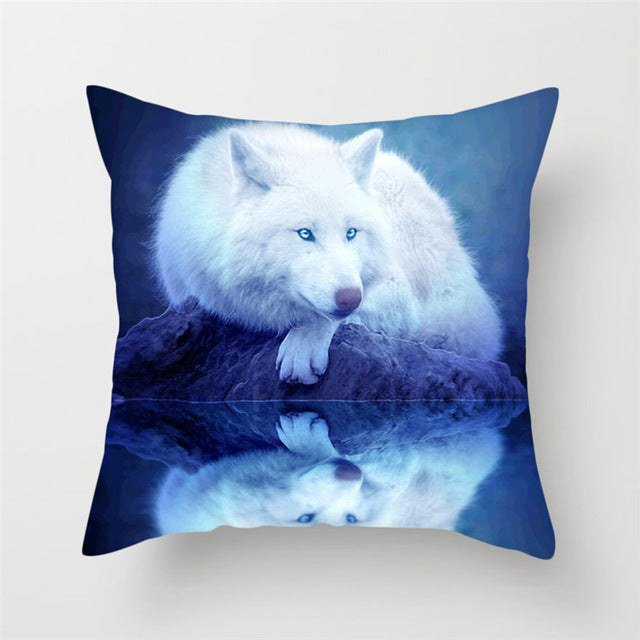 White Wolf Pillow Cover 100% Polyester