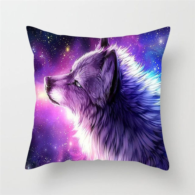 Wolf with Stars Pillow Cover 100% Polyester