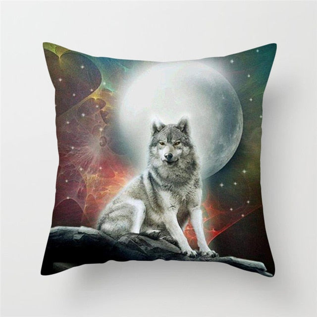 Wolf on The Moon Pillow Cover 100% Polyester