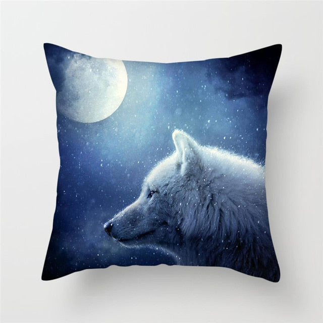 Snow and Moon Pillow Cover 100% Polyester