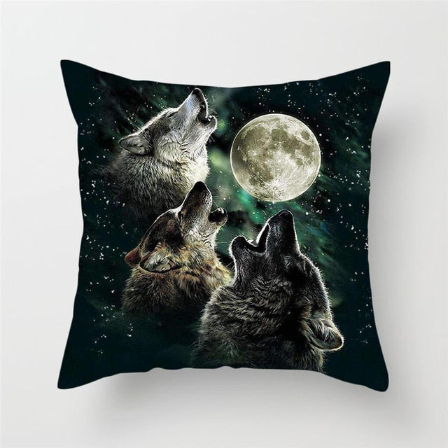 Wolves Howl at The Moon Pillow Cover 100% Polyester
