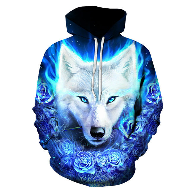 White Wolf with Blue Roses Hoodie 100% Cotton