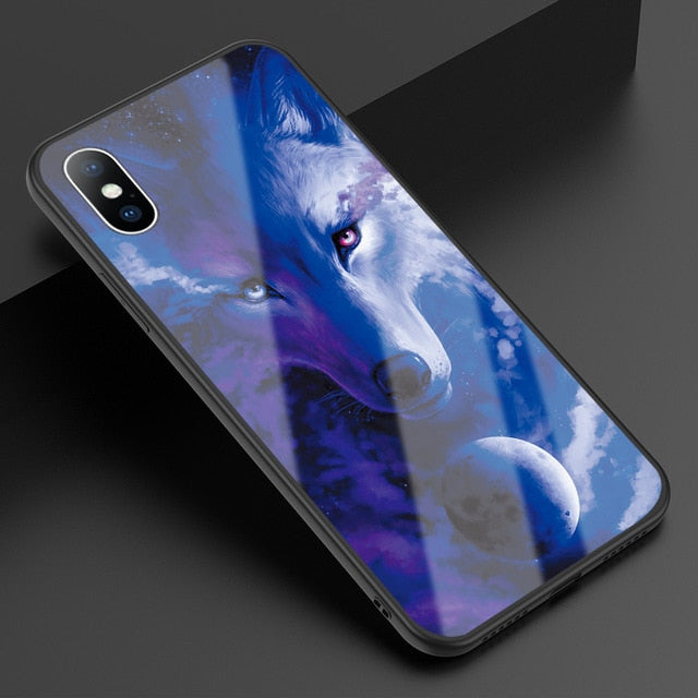 Blue Wolf Tempered Glass Cover for iPhone