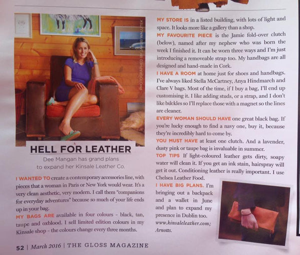 Kinsale Leather in The Gloss Magazine, Irish Times March 2016